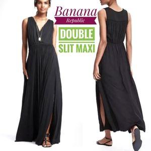 "Black maxi Banana Republic ""goddess"" slit dress xs"